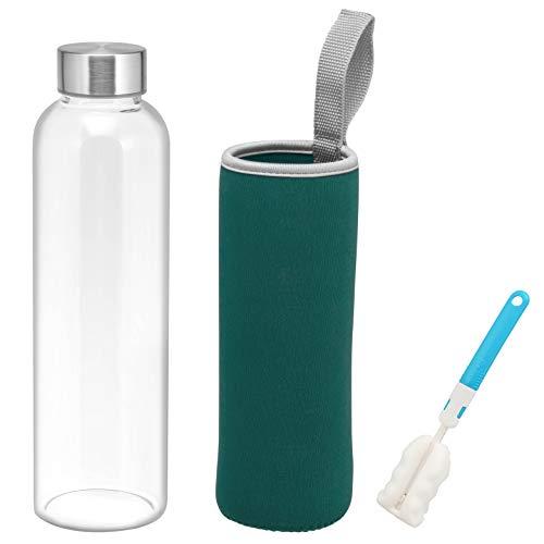 bremermann Botella de cristal con funda protectora, 550 ml, incluye cepillo de limpieza (verde)