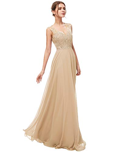 Sarahbridal Women's Chiffon Prom Dress Long 2020 Applique Sequin Bridesmaid Party Gowns Champagne US6