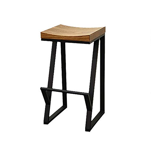 SDKFJ Bar Stool, American Style LOFT Creative Iron Dining Chair Solid Wood Chair Seat Metal Legs Antique Kitchen High Stool (Size : Sitting height 70cm/28.35')