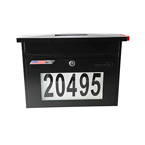 Wall Mount Locking Mailbox - Black Solar House Numbers Light Large Capacity Illuminated at Night - Waterproof Iron Mental Address Numbers Mail Box Outdoor with Key
