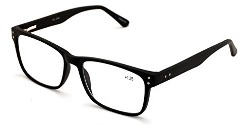 Men Premium Rectangle Stainless Steel Reading Glasses - Wide Fitment Metal Reader (Black, 1.75)