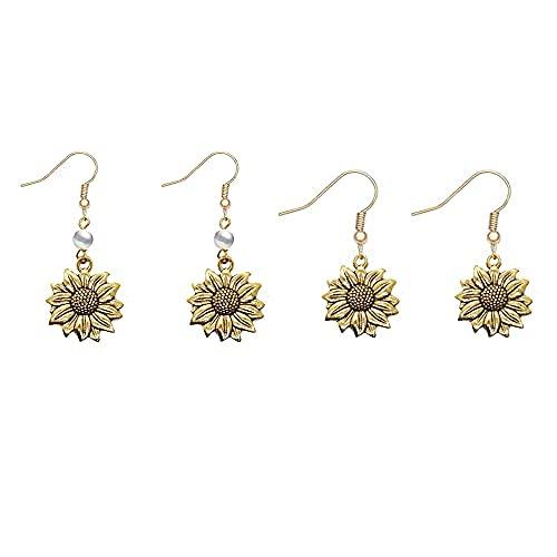 Pendientes de girasol vintage para mujer y niña, simulan perlas y flores de sol