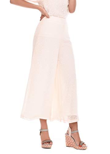 Pantalón Mujer Verano Casual Fiesta Boho Liso (Blanco Roto, l) T220114