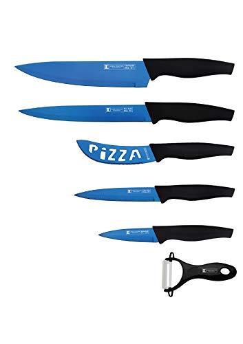Lot de 6 couteaux de cuisine professionnels en acier inoxydable avec manche ergonomique - Couteau de chef, couteau à pizza, trancheuse, couteau utilitaire, couteau à éplucher en céramique