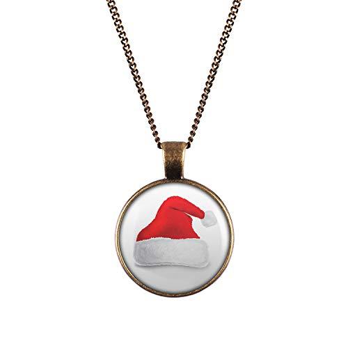 Mylery Hals-Kette mit Motiv X-Mas Weihnachts-Mütze Zipfel-Mütze Rot Weiß Bronze 28mm