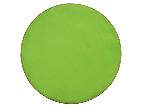 Primaflor - Ideen in Textil Kinder-Spiel-Teppich Einfarbig SITZKREIS - Grün, Rund 200cm, Velour-Kurzflor-Teppich für Kinderzimmer, Kindergärten und Schulen