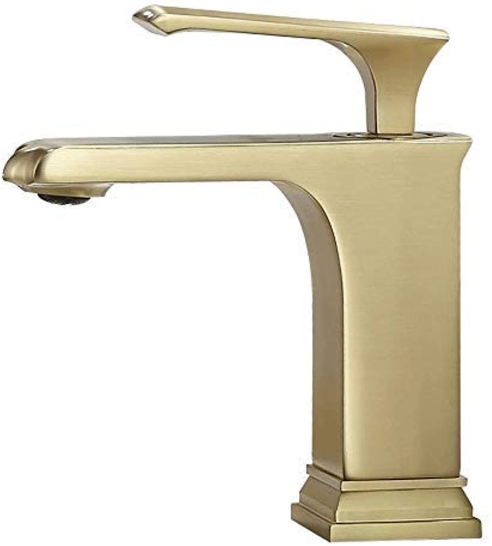 Alle Bronze Design Wasserhahn quadratische Schüssel Wasserhahn Waschbecken Wasserhahn Messing Verdickung heien und kalten Gold Wasserhahn Mischer