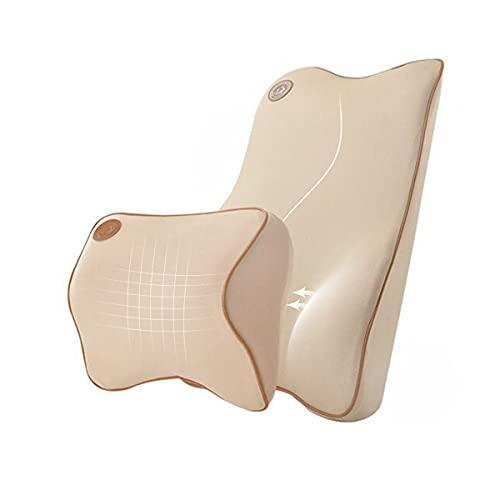 Ecloud Shop® Cojín de Soporte Lumbar para Coche y reposacabezas Kit de Almohada para Cuello - Diseño ergonómico Asiento de automóvil Principal de Ajuste Universal - Beige