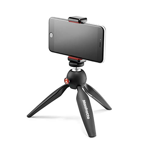 Manfrotto MTPIXI-B PIXI mini-statief, zwart, Black Tripod Kit met universele smartphone klem, Manfrotto Black Phone, Tripod Kit