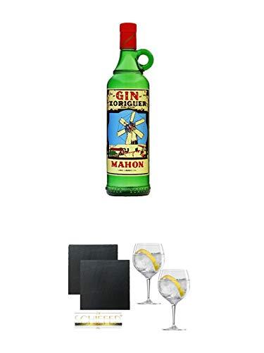 Gin Xoriguer Mahon Gin 0,7 Liter + Schiefer Glasuntersetzer eckig ca. 9,5 cm Ø 2 Stück + Spiegelau Gin & Tonic 4390179 2 Gläser