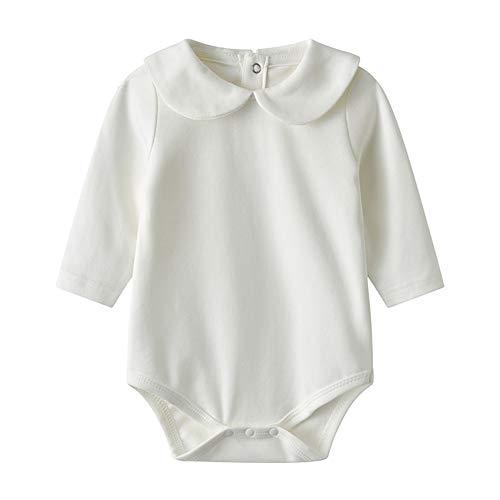 Auro Mesa Newborn Baby Infant Unisex Cotton Long-Sleeve Solid Peter Pan Collar Onesies Bodysuits