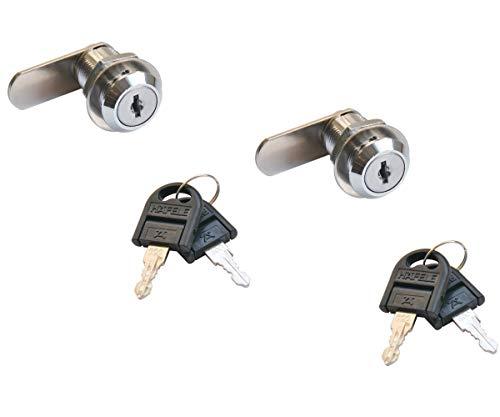 Gedotec meubelslot cilinderslot hendelslot SET voor brievenbus & meubels | staal verchroomd gepolijst | cilinderslot met sluitweg: 90° | 2 stuks - kastslot met sleutel