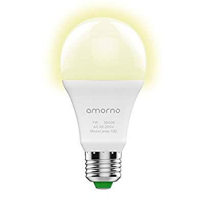 Dusk to Dawn light Bulbs,AMORNO 7W E26/E27 Smart Sensor Light Bulb with Auto on/off, Indoor / Outdoor LED Lighting Lamp for Porch, Hallway, Patio, Garage,Hallway