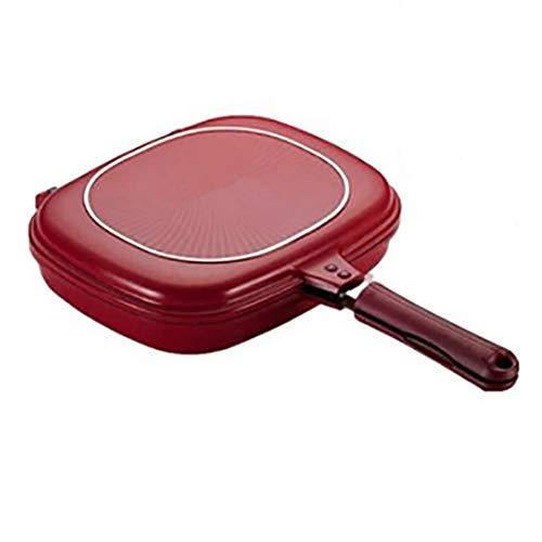 Doppelseitige Bratpfanne, tragbare BBQ-Grillpfanne, Küche Antihaft-Doppelpfanne, Grillplatte, Backpfannkuchen, quadratische Tabletts Für gekochtes Hähnchen, Fisch, Ei im Innen- und Außenbereich