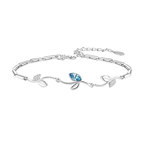 CCGHSL Pulsera de plata de ley para niñas, joyería de mano, accesorios de cumpleaños para novias (color azul, tamaño: talla única)