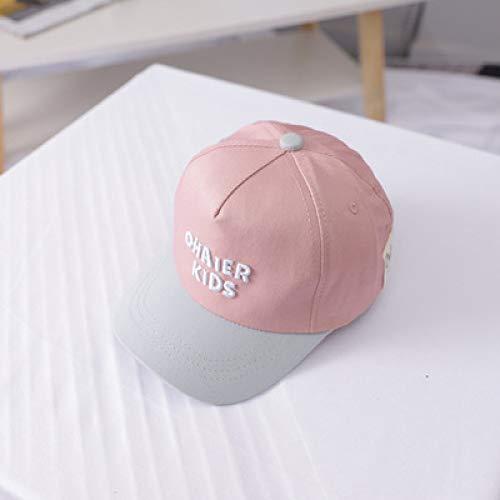 mlpnko Baby Hut Junge Farbe passende Kappe Mädchen Kind Kind Sonnencreme Schatten Qualität Baseballmütze Rosa 48-50CM
