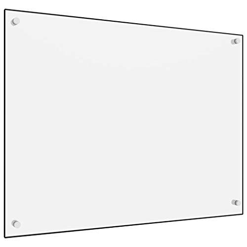 vidaXL Küchenrückwand Spritzschutz Fliesenspiegel Glasplatte Rückwand Herdspritzschutz Wandschutz Herd Küche Weiß 80x60cm Hartglas