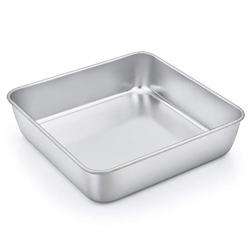 8 Inch Square Baking Cake Pan, P&P CHEF Stainless Steel Lasagna Cookie Bakeware Birthday Brownie Cake Pan, Leakproof & Heavy Duty, Non-toxic & Healthy, Easy Release & Clean