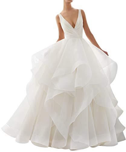 JAEDEN Abiti da Sposa Donne Lungo Vestito da Sposa Abito Nuziale Organza V-Collo A-Line Bianco EUR42