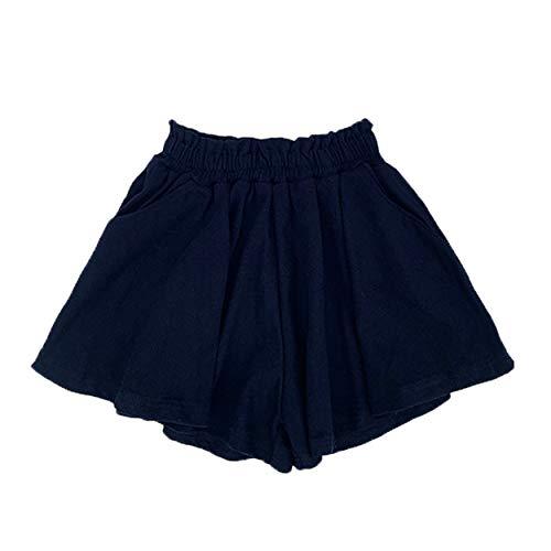 ANGUYA Falda Mini Skater Casual Versátil elástica Acampanada básica Falda Escolar Plisada de algodón Pantalones Cortos para niñas