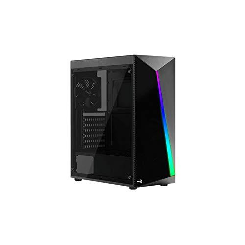 Aerocool Shard - Carcasa de Cristal Templado RGB para Torre Media, Color Negro