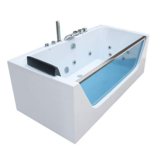 Empava 59 in. Acrylic Alcove Whirlpool Bathtub-Hydromassage Rectangular Jetted Soaking Tub with Center Drain-Waterfall Faucet, 59 Inch, White