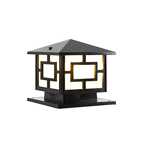 CraftThink LED Post Light Outdoor, Traditional Square Solar Post Lamp 1 Head Aluminum Courtyard Light in Black for Garden Yard Post Pole Pillar Mount Landscape, 15.5