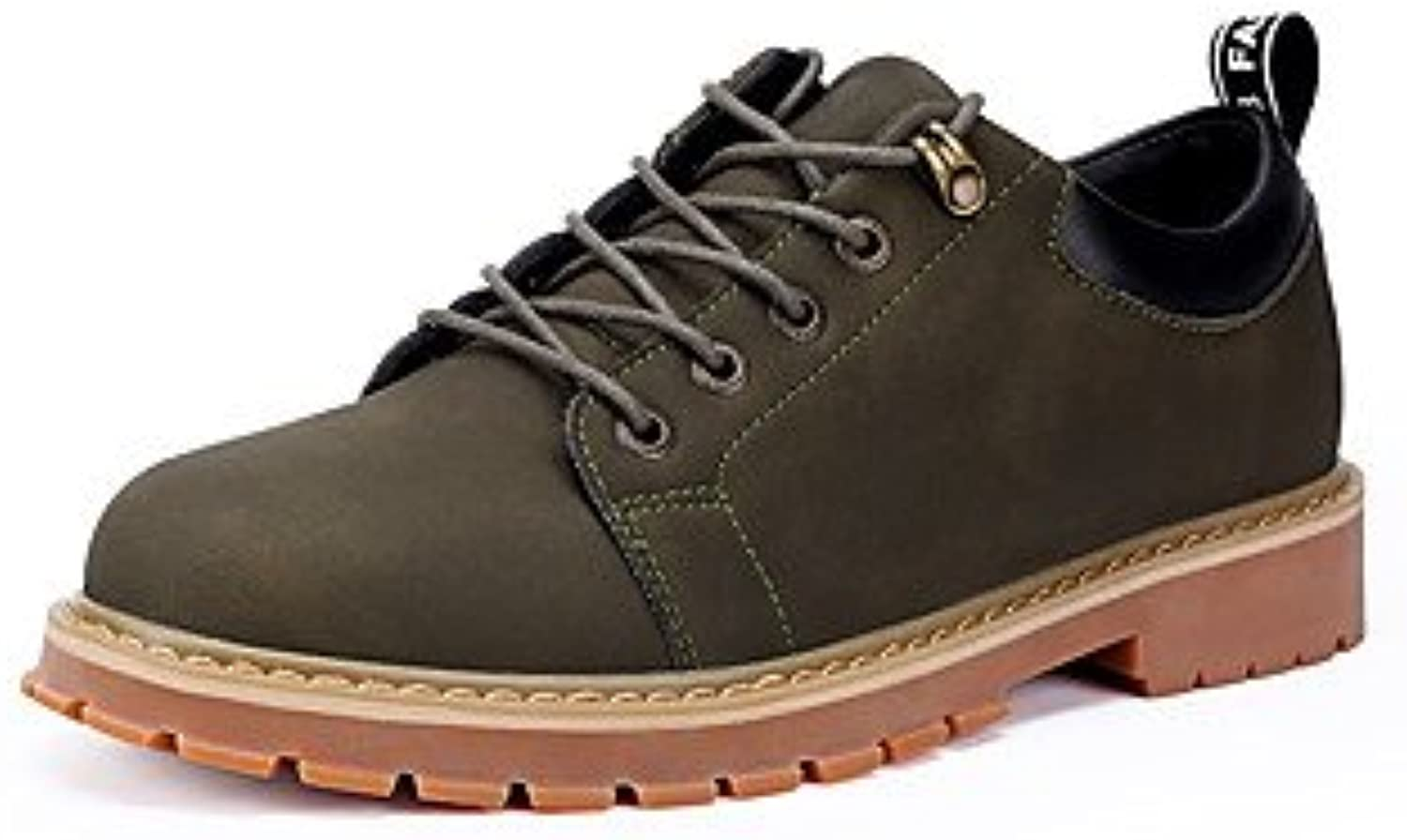 Men's Oxfords Comfort Fall Winter Leatherette Hiking shoes Casual Outdoor Office & Career Laceup Flat Heel Black Brown Green Flat