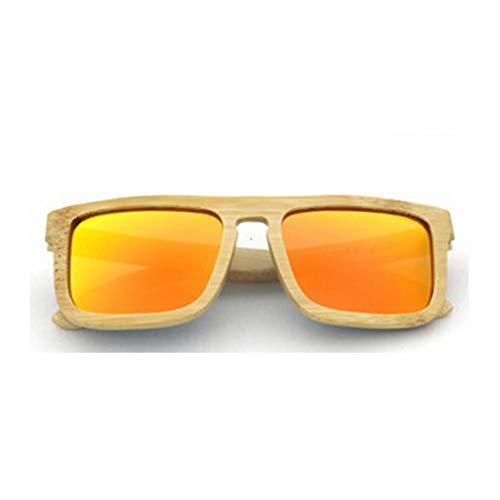 ERSD Marco completo hecho a mano Gafas de sol de madera Forma cuadrada Lente coloreada Protección UV400 para Unisex-adulto Diseño de moda clásico de gama alta, Tirón estilo calle para viajes Conducció