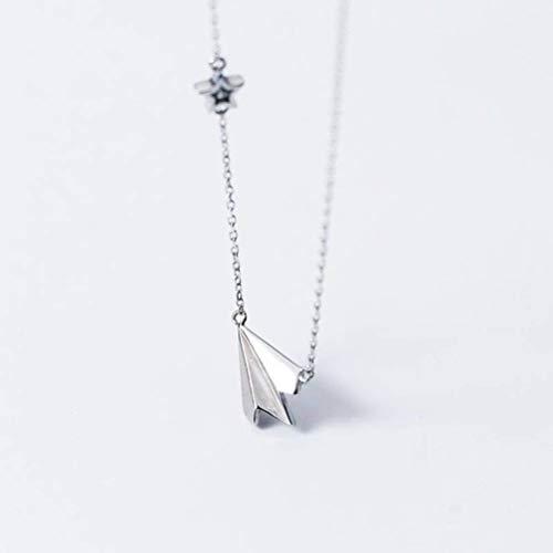 WOZUIMEI S925 Collar de Plata para Mujer Avión de Papel Japonés Avión Avión Collar Simple Infancia Estrellas Clavícula Joyería de Cadena CortaPlata 925, l