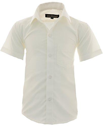GILLSONZ A0 vDa New Kinder Party Hemd Freizeit Hemd bügelleicht Kurz ARM mit 9 Farben Gr.86-158 (104-110, Creme)
