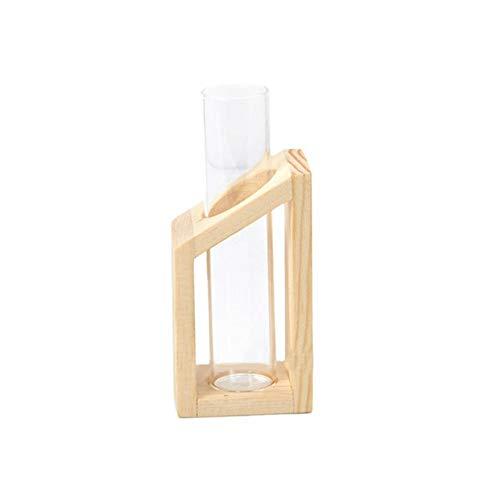 Jiutinggood 1 Set 1 Vender Home Test Tube Jarrón de cristal, soporte de madera, terrario de vidrio para plantas hidroponicas, oficina en el hogar