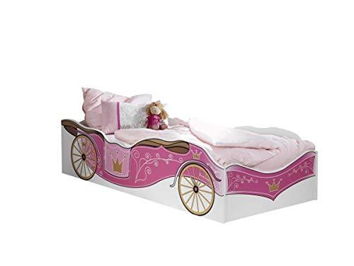 Rauch Möbel Kate Bett Einzelbett Mädchenbett in Weiß / Motiv Prinzessin, Rosa, Gold, Liegefläche 90x200 cm, Stellmaße BxHxT 93x48x205 cm