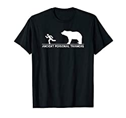 "Simple design with a bear chasing a person and the words ""Ancient Personal Trainers""."