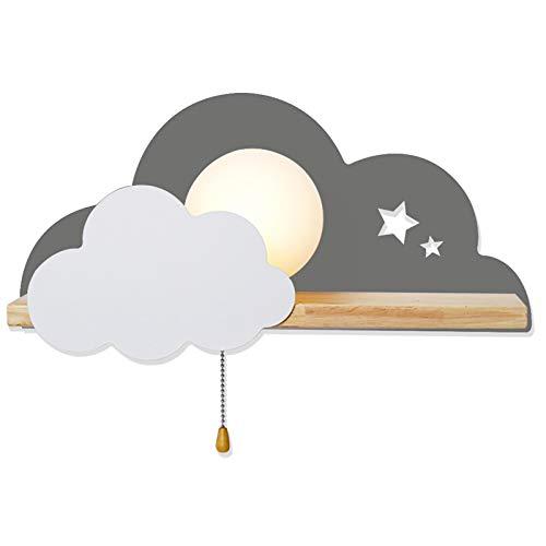 ANKBOY Lámpara de pared Nube moderna LED, Iluminación Creativa Apliques de Pared con Interruptor de Extracción, Habitación de los Niños de Dibujos Animados Interior Luces de Pared, Gris