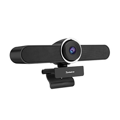 Tenveo VA200pro | All-in-one Webcam mit Mikrofon und Lautsprecher, Konferenzkamera 1080p HD 124-Grad Weitwinkel für Skype/Zoom Videokonferenzen und YouTube/Twitch/OBS Live Streaming