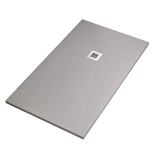 Receveur de douche en marbre minéral gris clair 2,5 | pierre Plus, 100 x 150 cm.