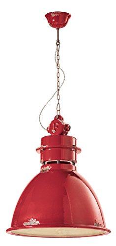 ferroluce rétro Suspension industrial massive 50x62 cm rouge brillant