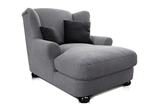 CAVADORE XXL-Sessel Oasis / Großer Polstersessel im modernen Design / Inkl. 2 schöne Zierkissen / 120 x 99 x 145 / Webstoff in grau