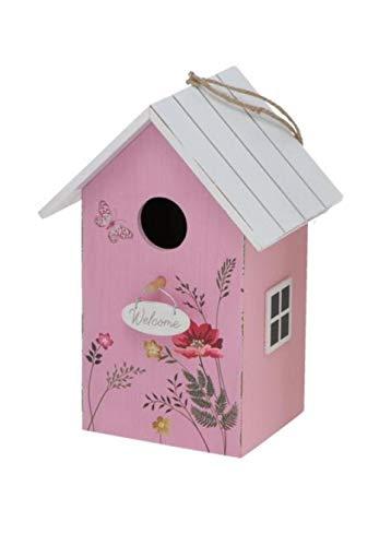 CasaJame Holz Vogelhaus für Balkon und Garten, Nistkasten, Haus für Vögel, Vogelhäuschen, rosa mit weißem Dach und Blumenwiesen Bemalung 15x12x22cm