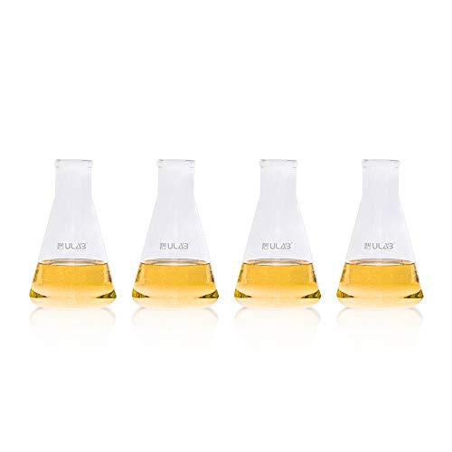 ULAB UEF1030 jarrones de vidrio de boca estrecha, 500 ml, decoración de jarrones para el hogar, sin graduación, paquete de 4