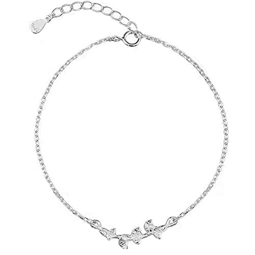 xinMarJ S925 Sterling Silber Ginkgo Leaf Armband Damenarmband, Einfach und Vielseitig, 16,5 + 3,5 cm