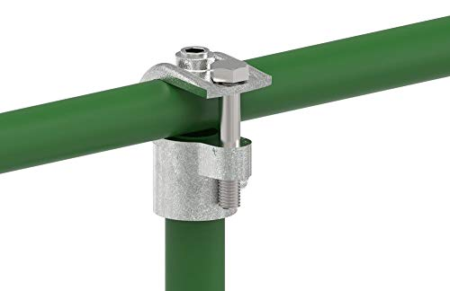 Fenau | T-Verbinder/T-Stück, offen, 90°, Ø 42,4 mm, Rohrverbinder, Temperguss galvanisiert, feuerverzinkt, inkl. Schrauben