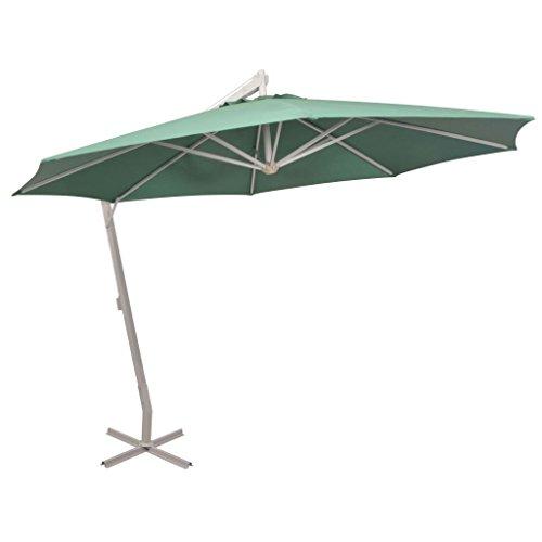 vidaXL Sonnenschirm mit Kurbelmechanismus Gartenschirm Strandschirm Ampelschirm Schirm Balkonschirm Marktschirm 350cm Grün Aluminiummast