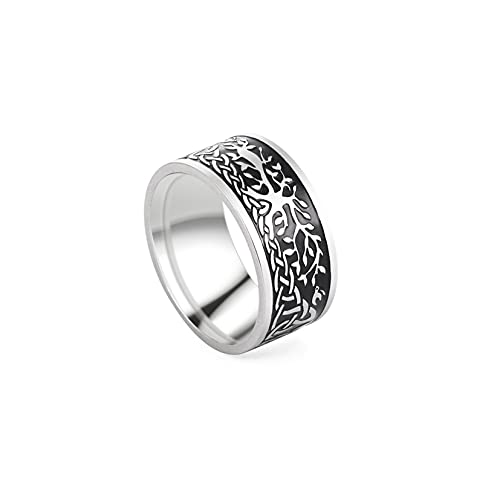 TEAMER Vintage Tree of Life Ring Amulet Viking Celtics Knot Mens Rings Stainless Steel Jewelry (Tree of Life 1, 9)
