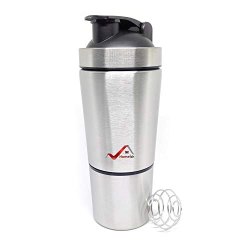 Homeish Stainless Steel Shaker for Gym with Extra Storage Compartment for Protein Shakes/Smoothies/Supplements (Silver, Approx. 750ml)
