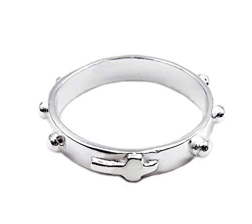 Women's ring in 925‰ silver Rosary ring religious cross for men or unisex