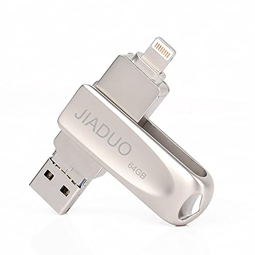 64GB USB Flash Drive for iPhone iPad Photo Stick 3 in 1 Memory Stick for...