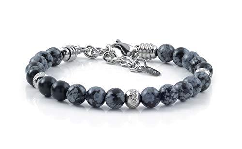 10:10 Bracciale con pietre naturali ossidiana da 6 mm, beads in acciaio inox, bracciale molto resistente prodotto in Italia