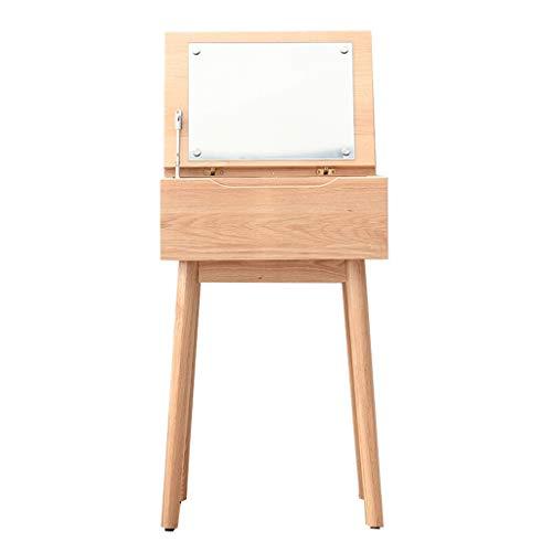 Toletta tavolino Moderno Tabella di preparazione del legno solido, Tabella di condimento dello specchio di vibrazione del desktop, scrittorio di piccolo calcolatore multifunzionale, sgabello non di tr